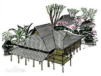 少数民族传统建筑手绘