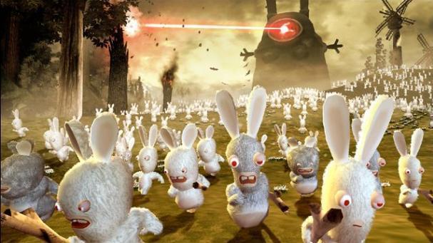 玩家可爱搞怪的雷曼被成群失控的疯狂兔子们所