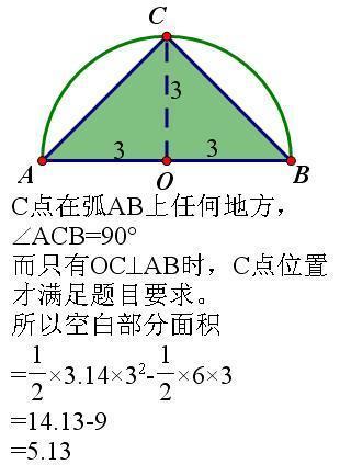 一个直径是6cm的半圆中有一个最大的等腰直角三角形,三角形和半圆之间