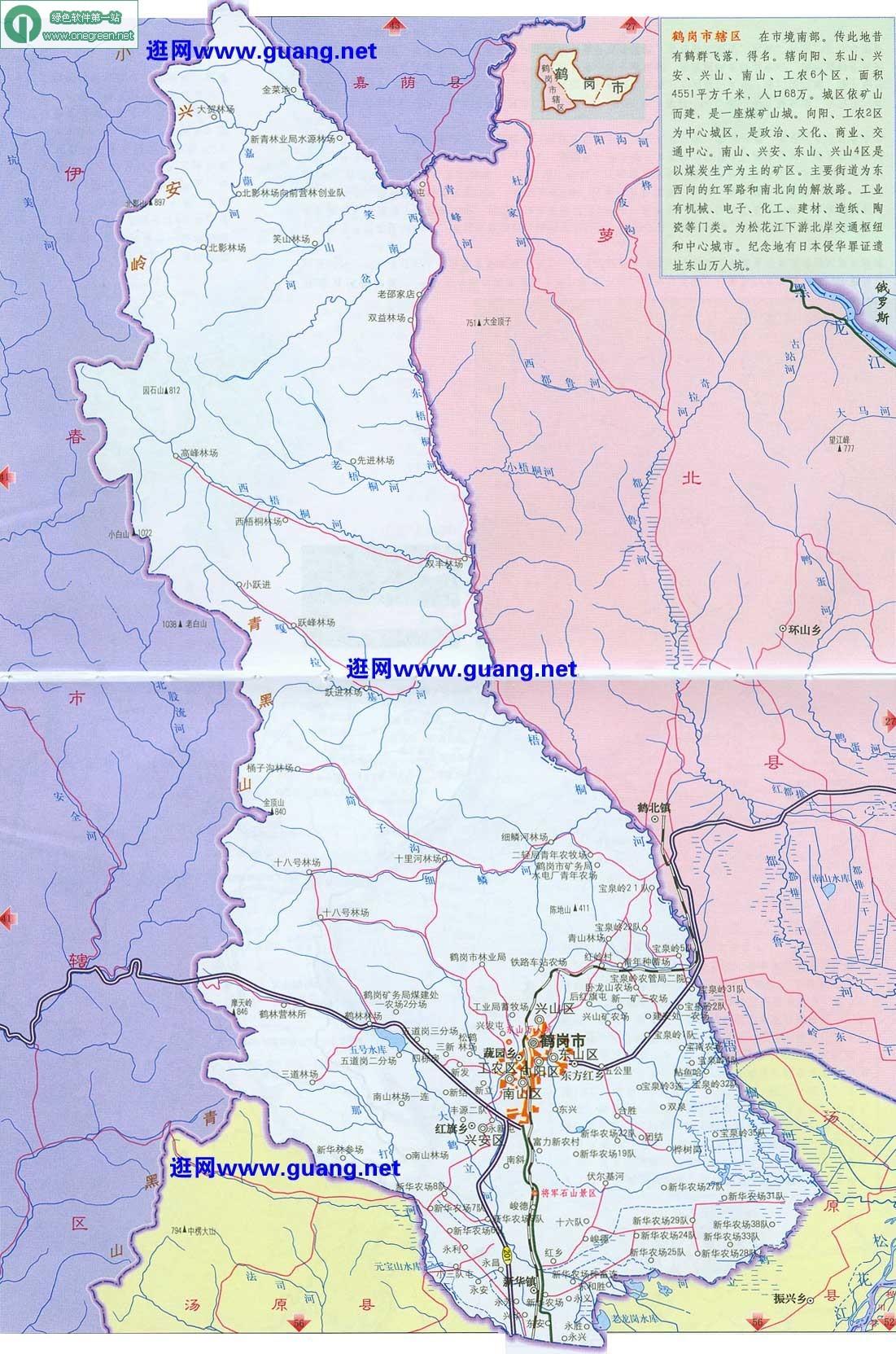 鹤岗行政地图