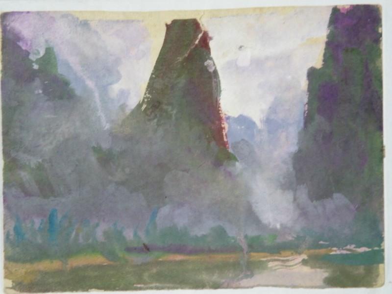水粉画:曾在4小时内画118幅水粉风景速写,平均每幅画两分钟.