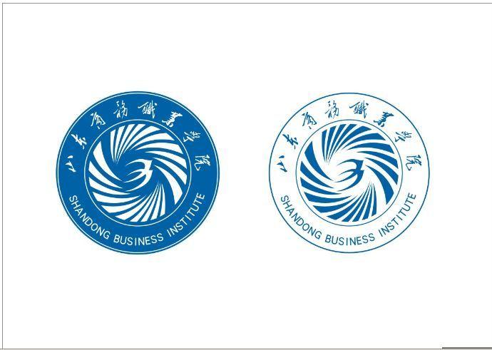 """学院标志图形,用""""山东""""的英文首写""""s""""演变成海中浪花,强烈的旋转动势"""