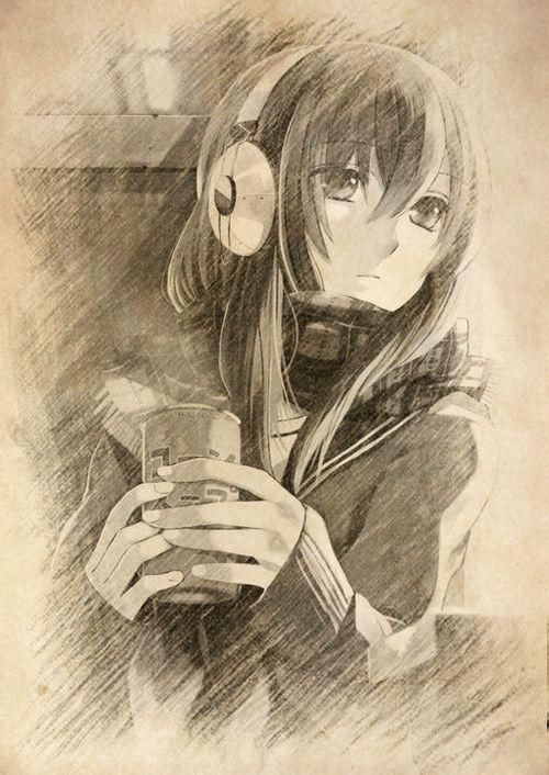 漫画女孩铅笔画高冷