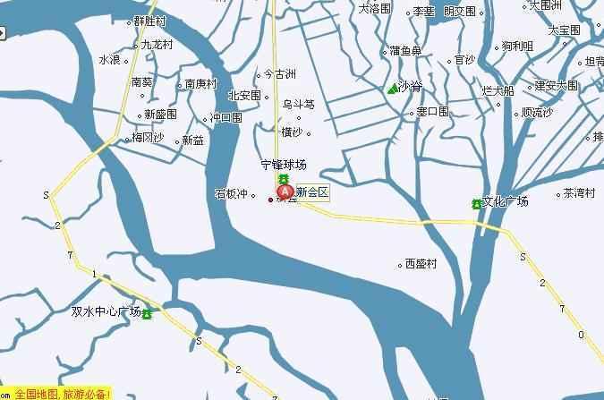 新会地图显示新会位于广东省珠江三角洲西部,潭江下游.