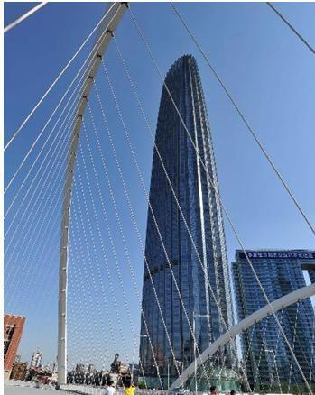 津塔的结构侧向受力体系采用带肋薄