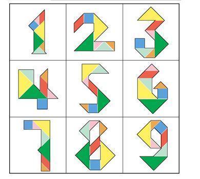 你能用一副完整的七巧板拼出数字1到9的图案吗
