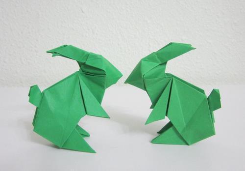 3.中秋节立体折纸兔子的手工折纸教程---成品如下