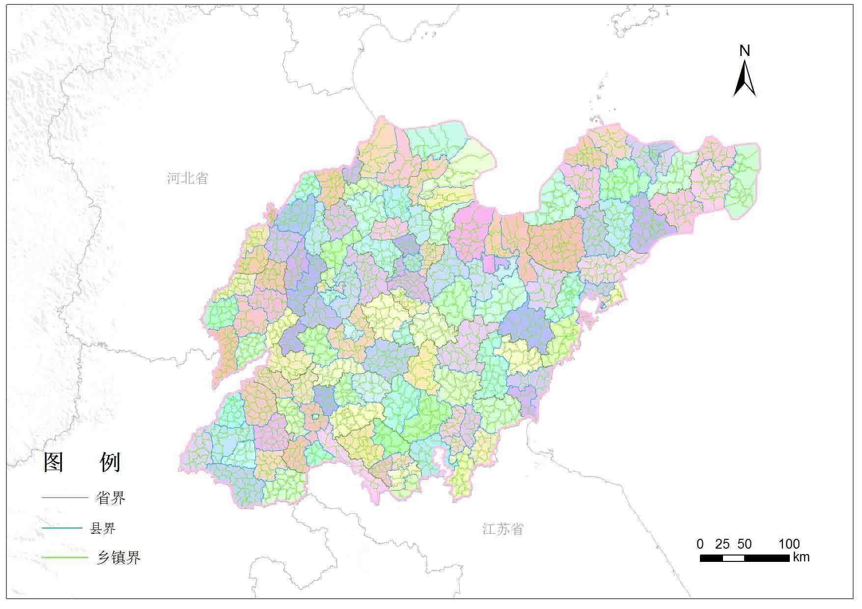 山东省县区地图|山东省县市分布-矢量地图